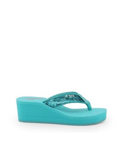 U.S. Polo Assn.   Light Blue Wedge Toe Post Flip Flops