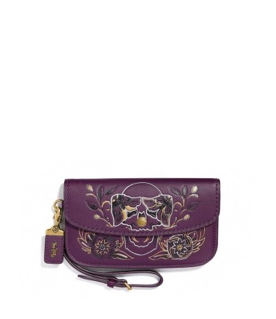 Coach Embroidery Purple Bag