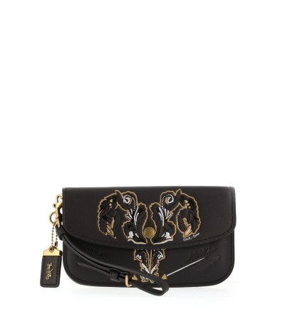 Coach Elegant Black Bag with embroidery on the front