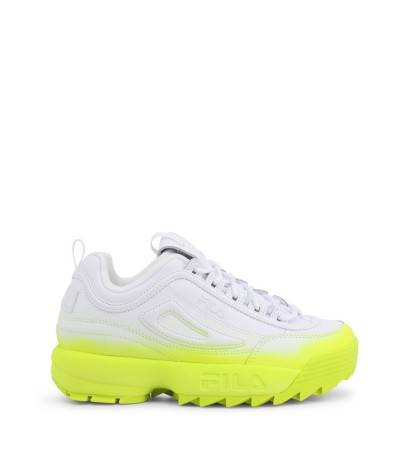 Fila White Sneakers with contrasting bright neon rubber sole