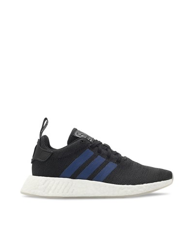 Adidas Women's Black Sneakers with blue stripes on the front
