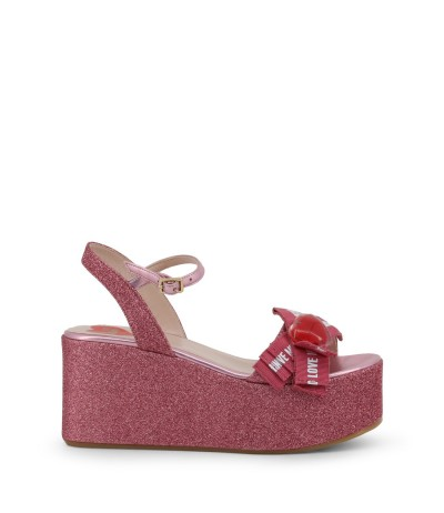 Love Moschino Glitter Sandals with plastic heart on the  front