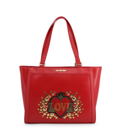 Love Moschino Women's Red Shiny Quilted Shopper Bag