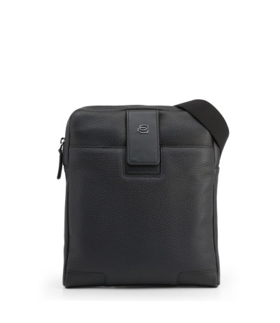 Piquadro Leather Pocket Small Crossover Bag - Black