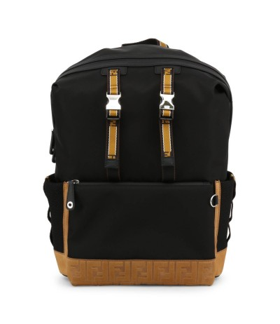 Fendi Black Synthetic Fibers Backpack with Suede Details