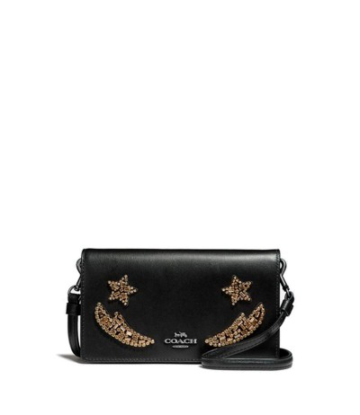 Coach Embroidered Leather Shoulder Bag