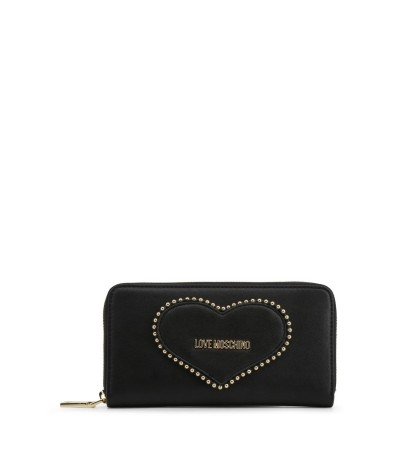 Love Moschino Zip around wallet with heart in black
