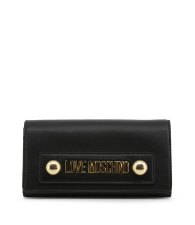 Love Moschino Black And Gold  Monogramme Flap Clutch