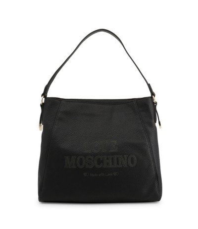 Love Moschino Logo Engraved Crossbody Bag Black