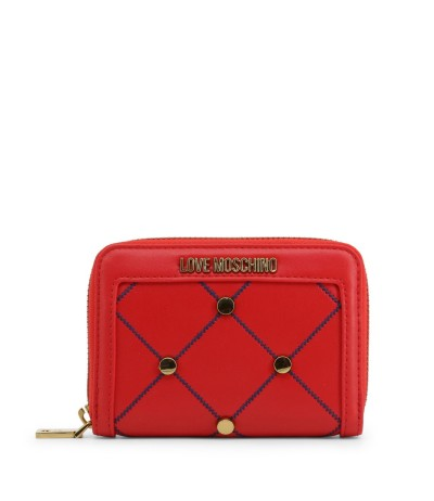 Love Moschino Wallet with blue stitching and metal details