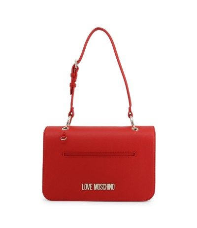 Love Moschino Logo-embellished textured-leather shoulder red bag