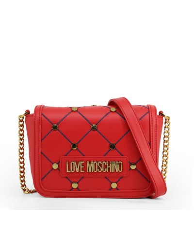Love Moschino red bag with embroidered blue stitching