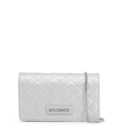 Love Moschino Small Diamond Quilted Bag- Silver