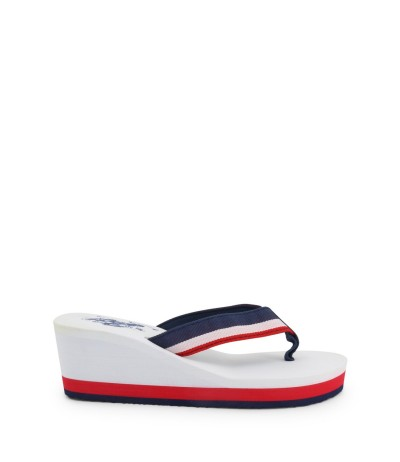 U.S. Polo Assn.  Stripe Slides -White