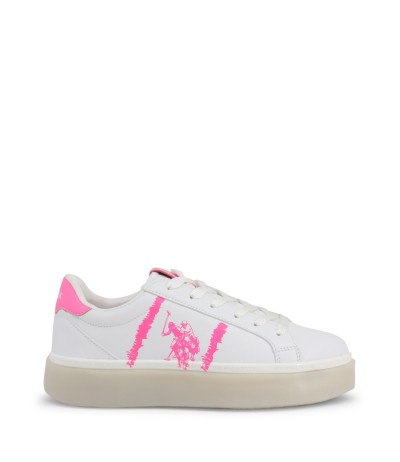 U.S. Polo Assn.  Women's White  Low-top Sneakers with signature on the front