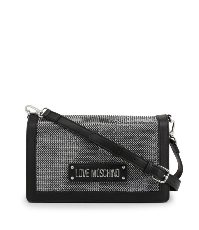 Love Moschino Embellished Metallic Convertible Crossbody - Black