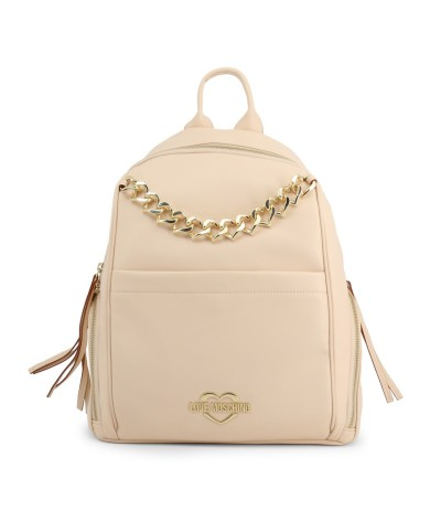 Love Moschino Heart-chain Logo Plaque Beige Backpack