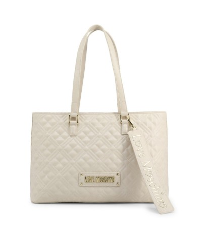 Love Moschino Quilted Top Zip Tote - White