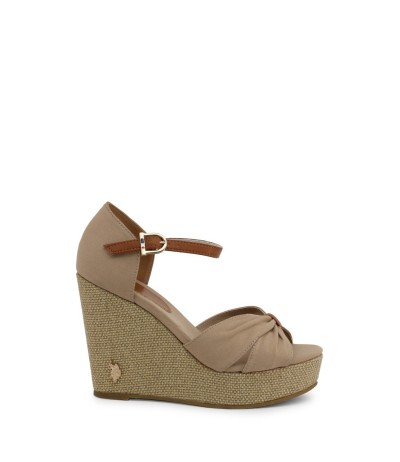 U.S. Polo Assn. peep toe wedge sandals in beige