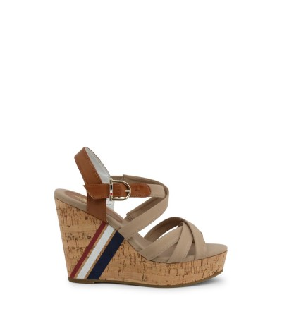 U.S. Polo Assn. Buckled Wedge Sandals - Brown