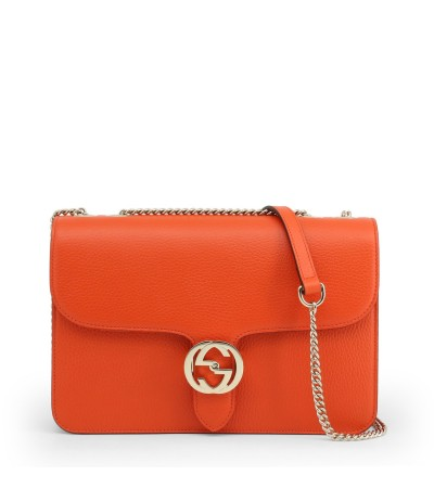 Gucci Orange Leather Chain Shoulder Bag