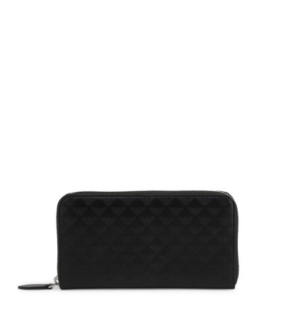 Emporio Armani Black Leather Wallet With All Over Logo