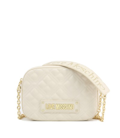 Love Moschino Quilted Compact Crossbody Bag - White
