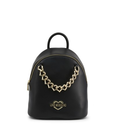 Love Moschino Chain Trim Faux Leather Backpack - Black