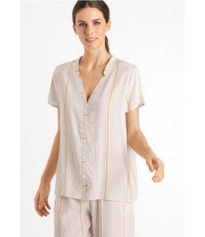 Hanro Sleep & Lounge Woven Short Sleeve Shirt