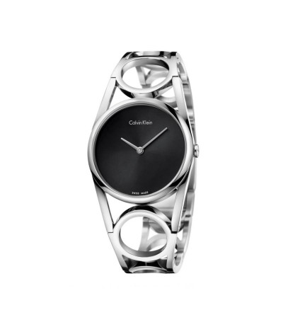 Calvin Klein Round Silver Dial Stainless Steel Ladies Watch - Metallic