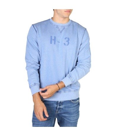 Hackett Brand-print Crewneck Cotton-jersey Sweatshirt - Blue