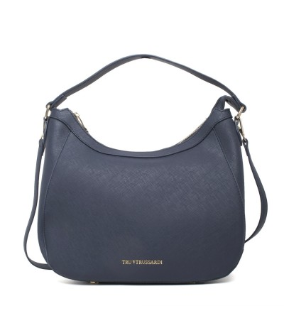 Trussardi Medium Grained Leather Hobo Bag - Blue