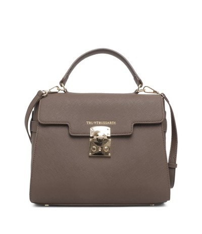 Trussardi Grained Leather Top Handle Bag