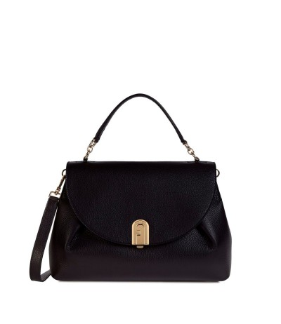 Furla Black Leather  SLEEK Flap Top Handle Bag