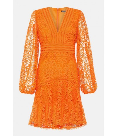 Karen Millen Cutwork Lace Long Sleeve Dress