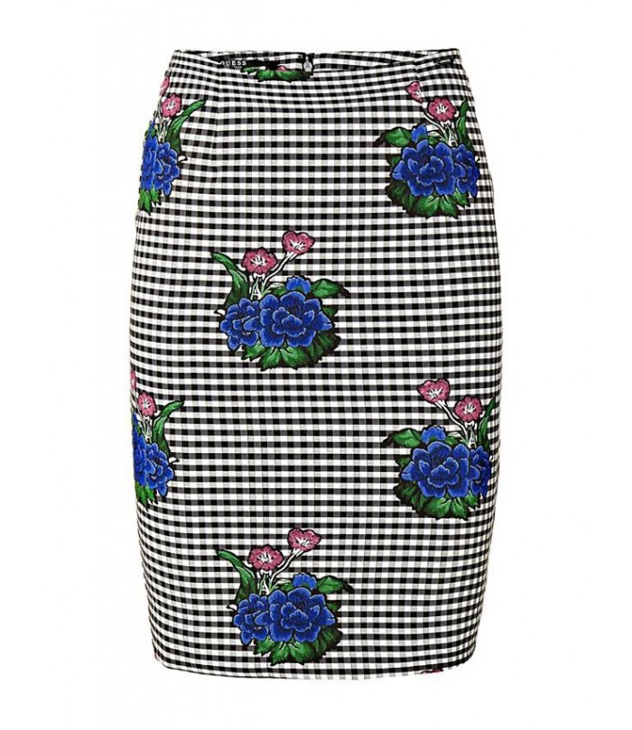 GUESS FLORAL CHECK MOTIF SKIRT