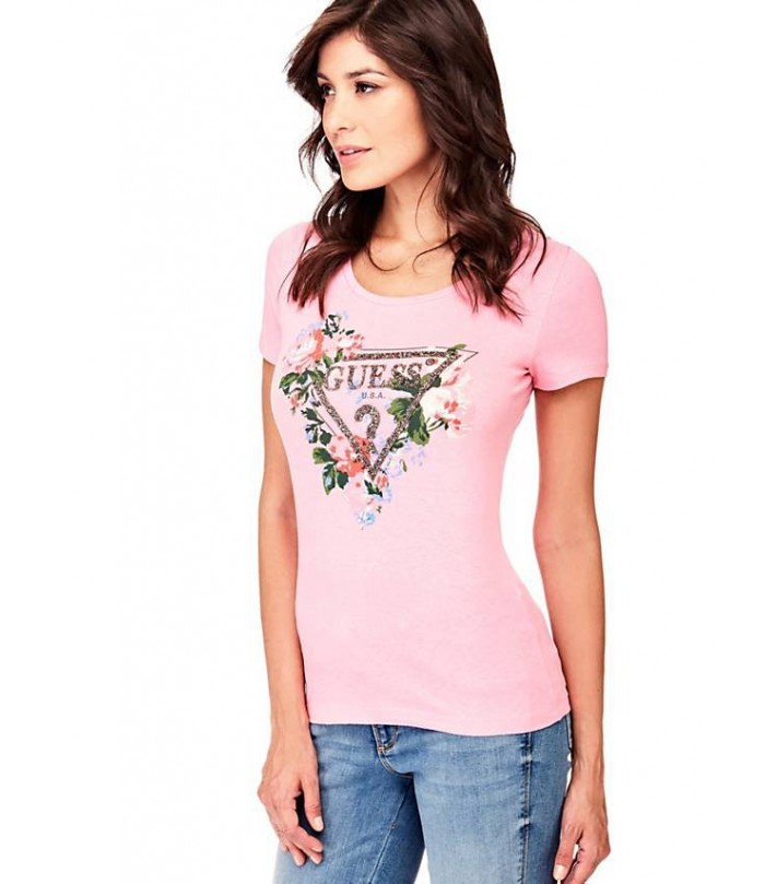 Guess T-SHIRT WITH ROSE LOGO TRIANGLE