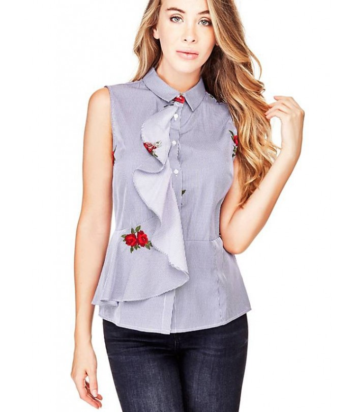 GUESS SLEEVELESS SHIRT ROSE EMBROIDERY