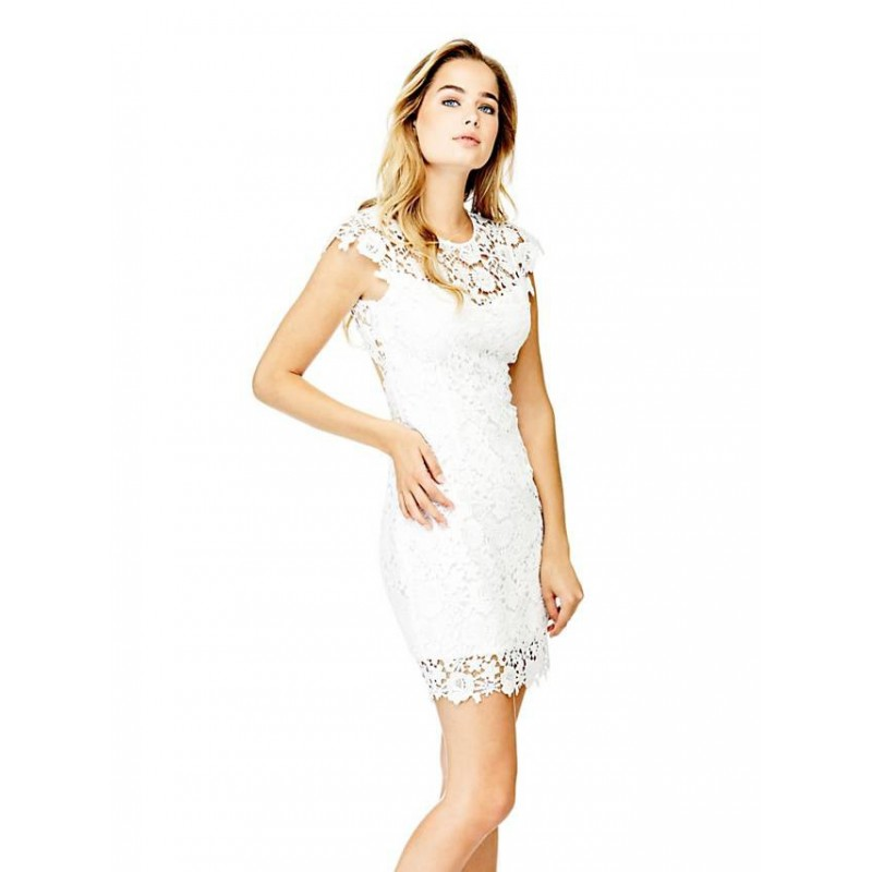 white classy dress by guess