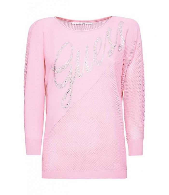 GUESS OPENWORK LOGO SWEATER