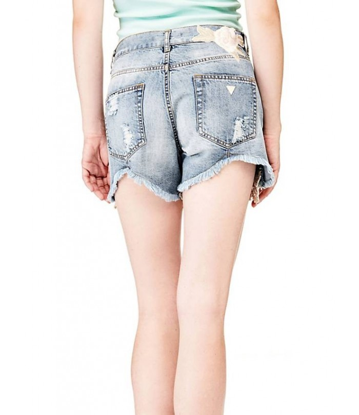 GUESS DENIM SHORTS WITH EMBROIDERY BOTTOM