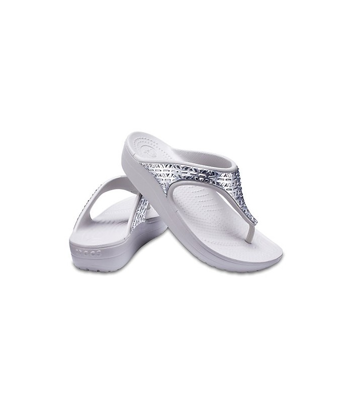 Women's Crocs Sloane Graphic Etched Metallic Flips