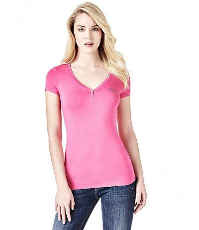 GUESS V-NECK BUTTON T-SHIRT
