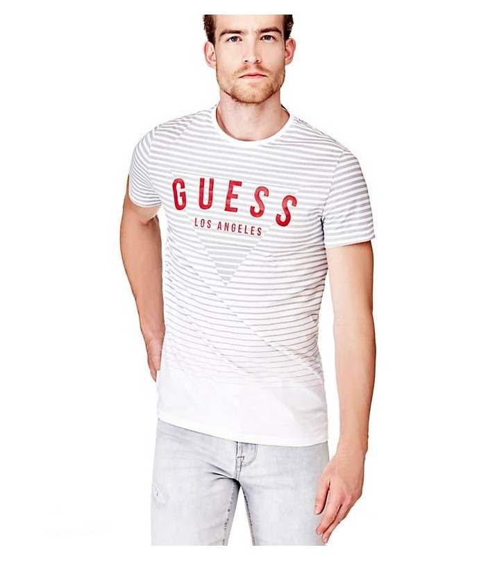 GUESS STRIPED T-SHIRT WITH LOGO