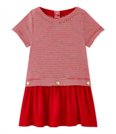 Petit Bateau Baby girl's milleraies-striped dress