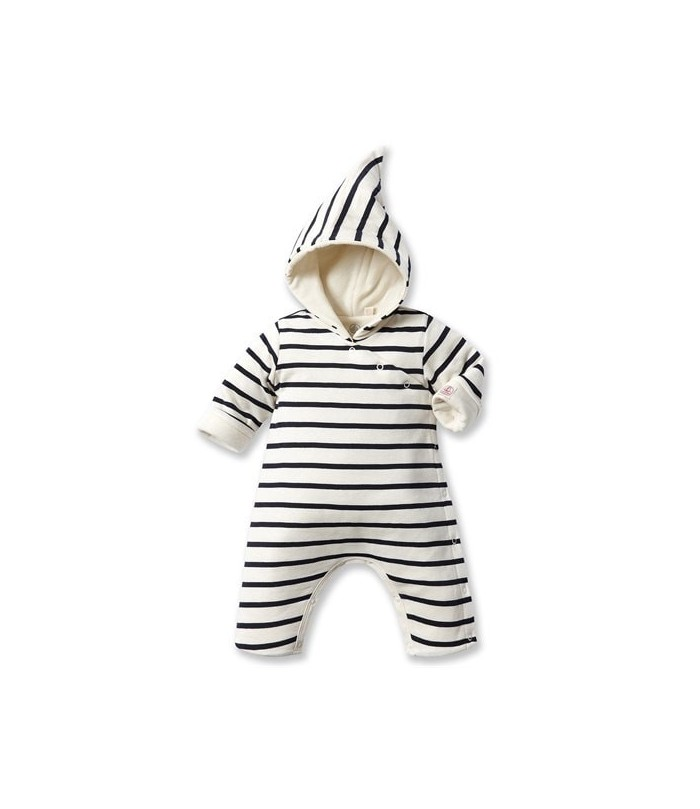 Petit Bateau  Baby striped hooded all-in-one