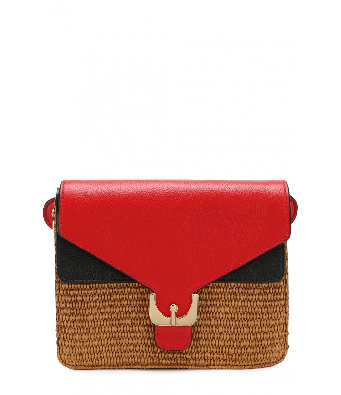 Coccinelle  Leather and straw fabric Bag
