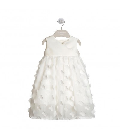 LA STUPENDERIA GIRLS CREAM DRESS WITH MIKADO BODICE