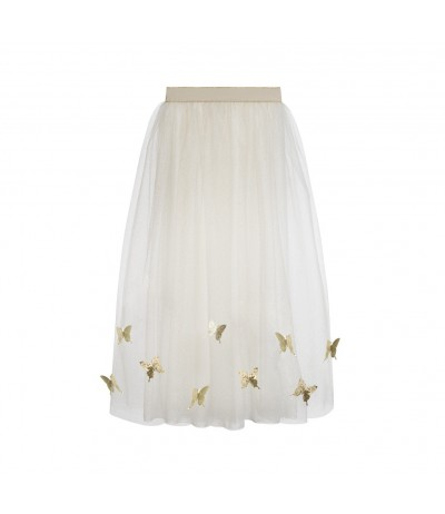 La Stupenderia Long Cream and Gold Skirt