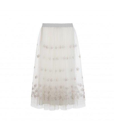 La  Stupenderia Long White Skirt